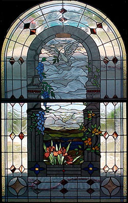 stained glass dove window