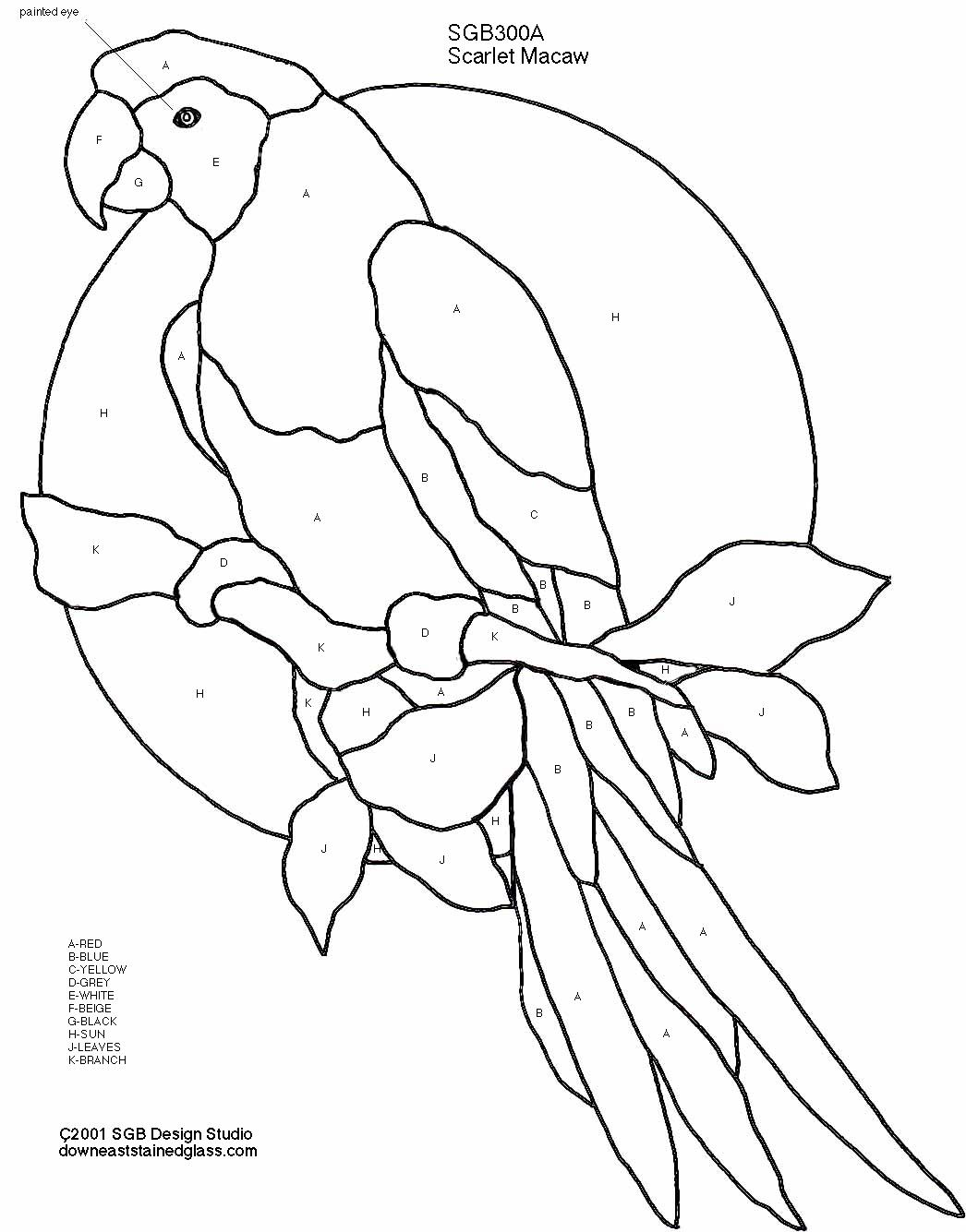 Red Macaw Stained Glass Pattern