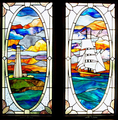 tall ship & lighthouse stained glass