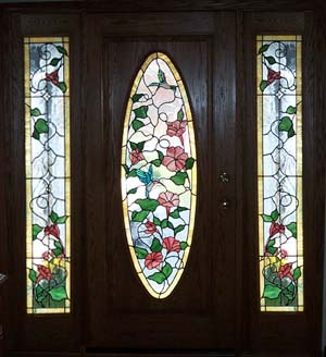humming bird stained glass door
