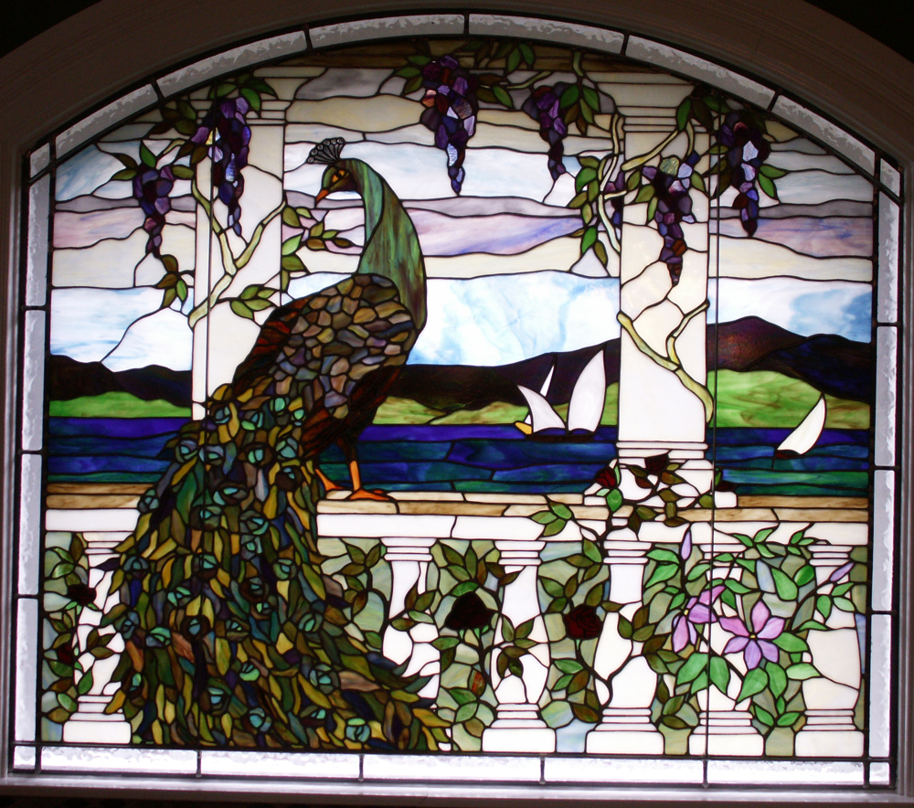 Tiffany Peacock Stained Glass Windows