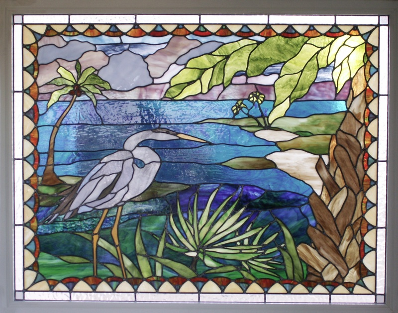 Egret tropics stained glass