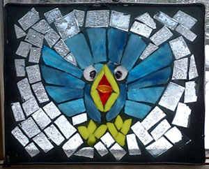 crash bird mosaic stained glass