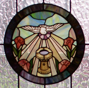 baptismal stained glass emblem